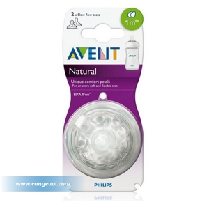 Núm ty Philips Avent Natural cổ rộng 1M+ SCF652/27